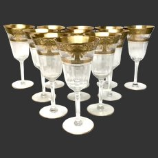 Stunning Set (11) Vintage Gold Encrusted & Clear Etched Optic Water Goblets