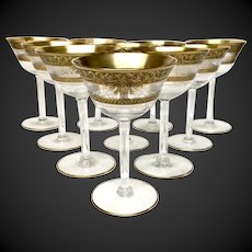 Stunning Set (11) Vintage Gold Encrusted & Clear Etched Optic Champagnes/Sherbets