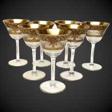 Stunning Set (7) Vintage Gold Encrusted & Clear Etched Optic Liquor Cocktails