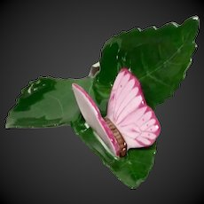 Herend Butterfly on Leaf Place Card or Menu Holder