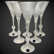 Stunning Set (6) Czech Republic Bohemian Frosted & Etched Goblets Signed Zubor