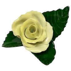 Herend Yellow Rose Place Card or Menu Holder