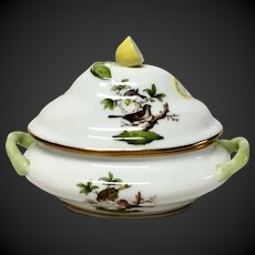 Herend Rothschild Bird (RO) Mini Tureen with Lemon Finial