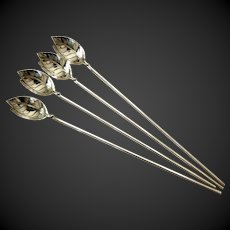 Set (4) Tiffany Sterling Mint Julep or Iced Tea Straws Spoons