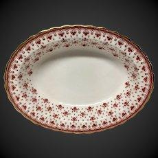 Spode Fleur de Lys Red Bone China Y7481 Oval Vegetable Bowl