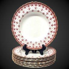 Spode Fleur de Lys Red Bone China Y7481 Set (8) Large Rim Soup Bowls
