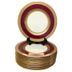 Set (12) Stunning Antique Lenox Crimson & Gold Service Plates