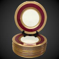 Set (12) Stunning Antique Lenox Crimson & Gold Service Plates