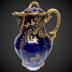Superb Martial Redon Limoges Cobalt, Gold, Raised Enamel Coffee Pot