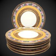 Set (7) Exceptional 22 Karat Gold Encrusted Heinrich Bavaria Service Plates with Floral Band