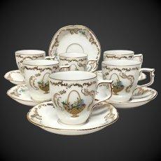 Set (6) Rosenthal China Rokoko Pattern Demitasse Cup & Saucers