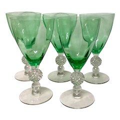 Set (5)  Morgantown Crystal  Golf Ball Meadow Green Optic Water Goblets