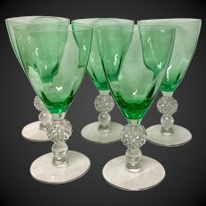 Set (5)  Morgantown Crystal  Golf Ball Meadow Green Optic Water Goblets