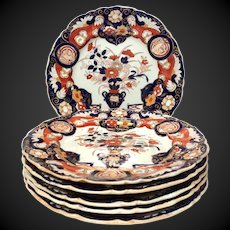 Stunning Set (7) Antique Mason's Vase Rock & Doves Dinner Plates