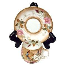 Gorgeous P.H. Leonard Hand Painted Demitasse Cup & Saucer