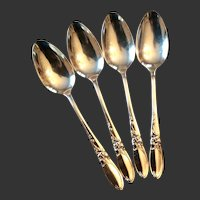 Set (4) Oneida Community  White Orchid Silverplate Demitasse Spoons