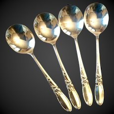 Set (4) Oneida Community  White Orchid Silverplate Round Gumbo Soup Spoons
