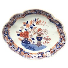 Antique Mason's Patn'd Ironstone Vase and Rock Scalloped Dessert Tray