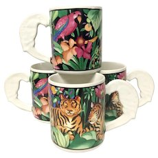 Set (4) Vitromaster Rain Forest Mugs Designed By Sue Zipkin