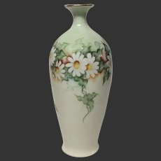 Hand Painted Daisies Austrian China Vase Signed A. Schwab
