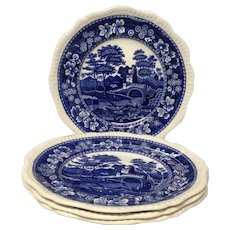 Lovely Set (4) Spode Blue Tower Large Dinner Plates Old Mark