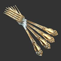 Set (4) Reed & Barton Festivity or Tiger Lily Silver Plate Table Forks