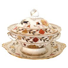 Lovely Royal Crown Derby Asian Rose Sauce Tureen & Stand