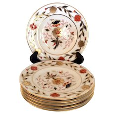 Set (6) Lovely Royal Crown Derby Asian Rose Bread & Butter Plates