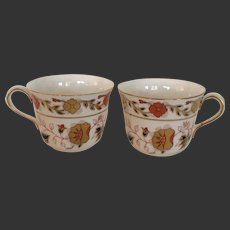 Set (2) Lovely Royal Crown Derby Asian Rose Flat Tea Cups