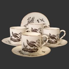 Set (4) Royal Worcester Pheasant Black Demitasse Cup & Saucers