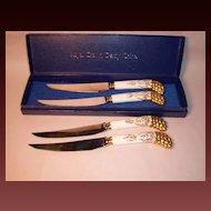 Royal Crown Derby VINE GOLD Steak Knives (4), Pistol Grip