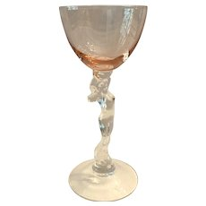 Lovely Cambridge Statuesque Nude Stem Peach-Blo Cocktail Goblet