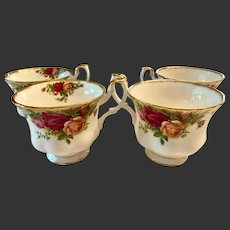 Set (4)Royal Albert Old Country Roses Tea Cups Only England