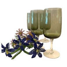 Set (4) Fostoria Modern  Glamour Green Pattern Water Goblets
