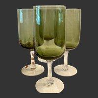 Set (4) Fostoria Modern  Glamour Green Pattern Tulip Shape Wine Goblets