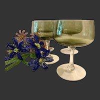 Set (4) Fostoria Modern  Glamour Green Pattern Sherbet Champagne
