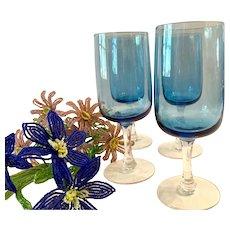 Set (4) Fostoria Modern  Glamour Blue Pattern Water Goblets