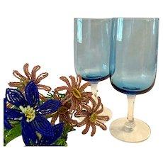 Pair (2) Fostoria Modern  Glamour Blue Pattern Tulip Wine Goblets