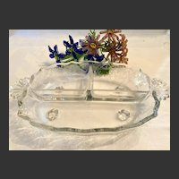Lovey Fostoria Corsage Three-Sectioned Relish Dish Baroque Blank