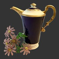 Spectacular Syracuse Cobalt and Gold Encrusted Diane Pattern Coffee Pot