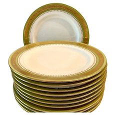 Set(12) Stunning Circa 1910 Minton Green and Gold Encrusted Dinner Plates