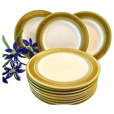 Stunning Set (12) Antique Minton Green and Gold Encrusted Dessert Plates