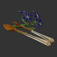 Fine Arts Sterling Processional  2-Piece Salad Set Sterling Handles Wood Spoon & Fork