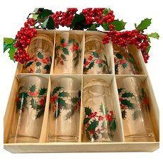 Set(8) Rubel, Moderne Glass Co. Vintage Mid Century Holly Berry Highball Tumblers