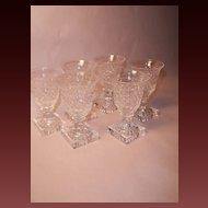 Vintage Kosta Edvin Ollers GEORGIAN Crystal Goblets, Set Six