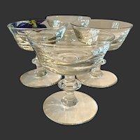Set (4) Val Saint Lambert State Plain Champagnes Or Sherbets