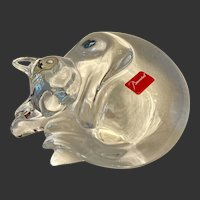 Baccarat Crystal  Sleeping  Cat Figurine or Paperweight Original Labels