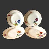 Vintage Set (4) Meissen Floral Dessert Plates, #8401 Flowers