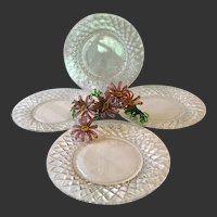 Set (4)) Stunning Hawkes Delft Diamonds Salad Plates