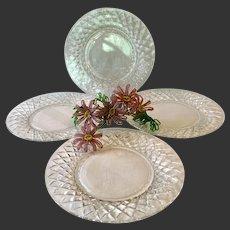 Set (4)) Stunning Hawkes Delft Diamonds Salad Plates